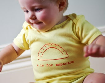 E is for Empanada Baby One-piece bodysuit   (Light Yellow) - Latin, Hispanic, South America, Argentina, Spain