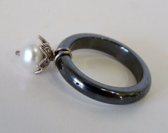 Hematite Band Ring White Freshwater Pearl Wire Wrapped Sterling Silver Flower ring