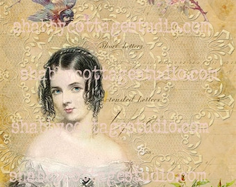 INSTANT DOWNLOAD DIGITAL Image Jane Austen Romance Fabric Transfer