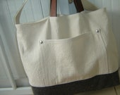 Canvas Leather Tote Bag/Weekender/Laptop Bag Vintage Wool Men's Tote Bag