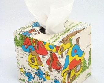 Smurfs 1980's Vintage Wallpaper Tissue Box Cover
