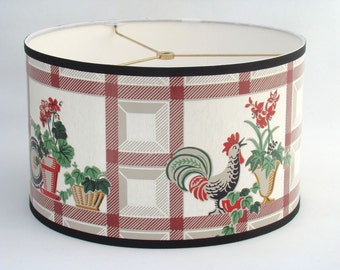 ON SALE Country Red Rooster & Flower 1950s Vintage Wallpaper Drum Lamp Shade