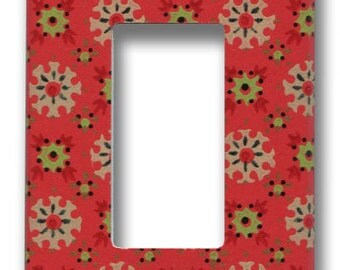 Red Mid Mod Do-Dads 1950's Vintage Wallpaper Decora Switch Plate