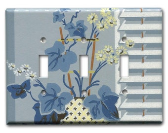 Blue Deco Floral 1940's Vintage Wallpaper Triple Switch Plate