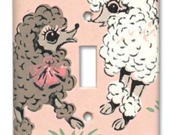 Sassy Poodle Kitsch 1950's Vintage Wallpaper Switch Plate