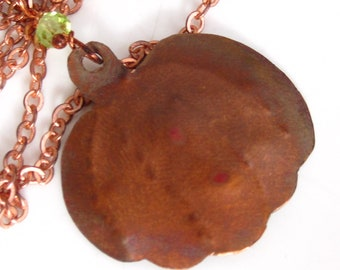 Pumpkin Spice Necklace -Copper Pumpkin and Peridot