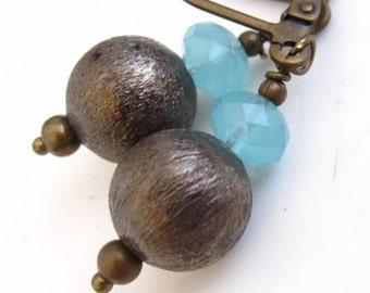Brass Bulbs and Aqua Chalcedony Earrings