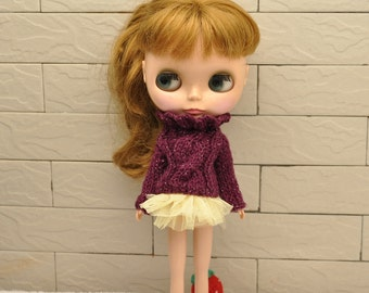 New Fall Babydoll Sweater for Blythe-- Wine