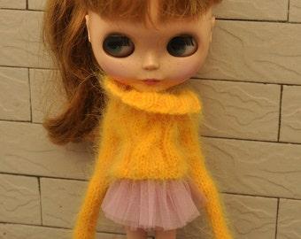 Longhair Angola Wool Babydoll Sweater for Blythe
