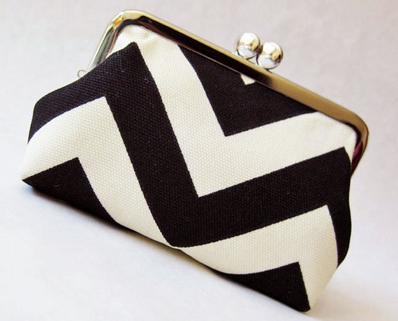 black chevron stripes purse