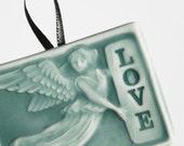 Angel holding LOVE - handmade tile ornament - turquoise - aquamarine - gift tag
