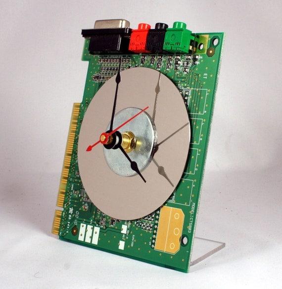 Computer Sound Card Circuit Board Desk Clock
