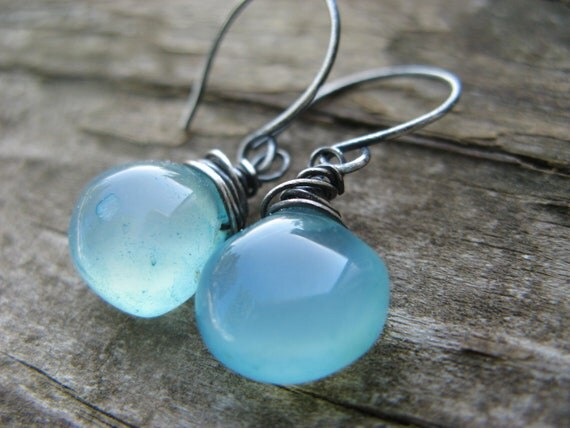 calm - aqua blue chalcedony earrings - oxidized silver