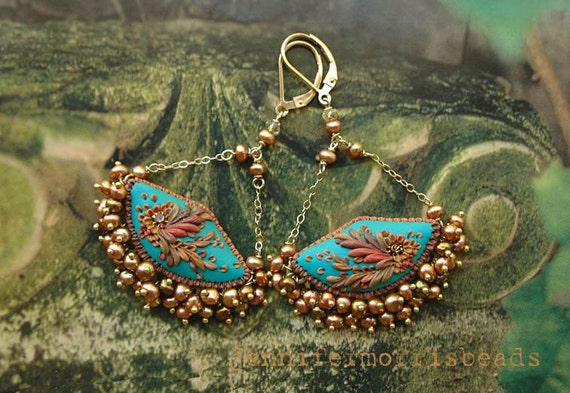 by the teal blue sea - romantic swing earrings - made to order