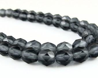 CLOSEOUT SALE for  Czech Glass Firepolish - Matte Montana Blue 6mm - 25 Beads