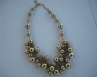 Sale...Disco - Fun Gold tone Beaded Necklace