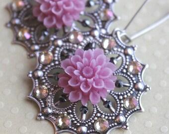 Delia Earrings - Swarovski Crystal - Antiqued Silver - Surgical Steel Kidney Earwires