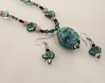 Teal, Purple Blue and Black Glass Blown Focal Bead and Handmade Necklace and Earring Set