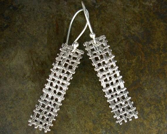 Sterling Silver Earrings in Unique Woven Burlap Design