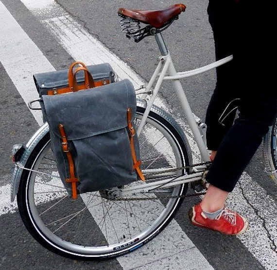 The Panniers in Gray Waxed Canvas (2 piece set)