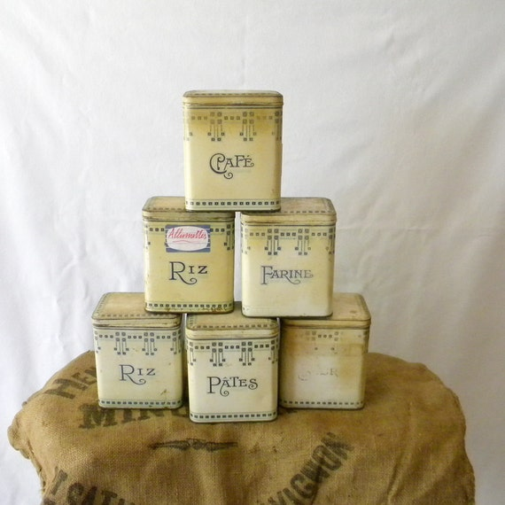 RESERVED Vintage French tin kitchen canisters