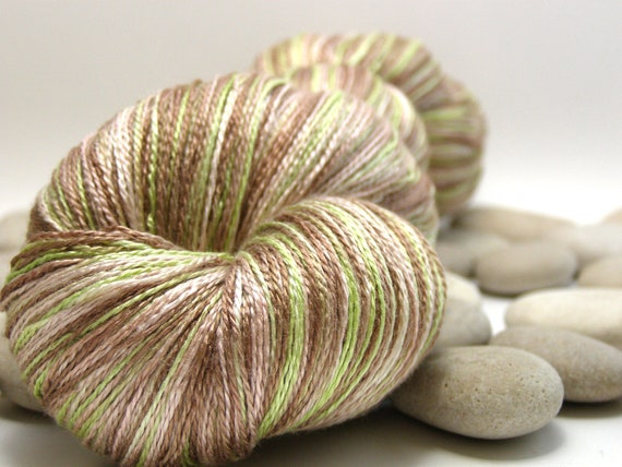 Hand Dyed Swiss Silk Yarn, 100% Silk - Lace Weight, Variegated, 980yds - Pistachio