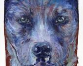 Rescue Pup/Pit Bull, Art Print of Acrylic Dog Painting
