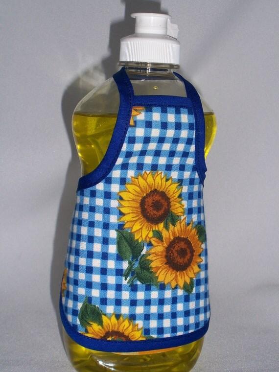 Sunflower Decor Dish Soap Bottle Apron Small Cozy Home