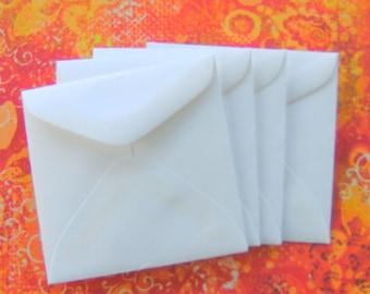 Small Mini Square Envelopes White Set of 8