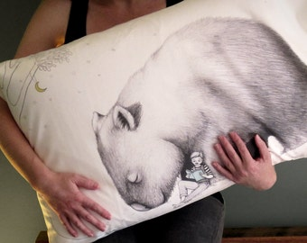 Giant Wombat Pillowcase with Book Boy, facing Left. Australian animal gift, present, white cotton sham by flossy-p