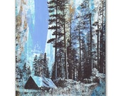 Camping Panel Painting, Original Screenprint Art on Wood