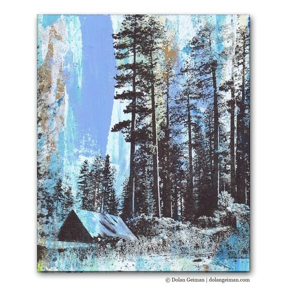 Camping Panel Painting, Original Screenprint Art on Wood