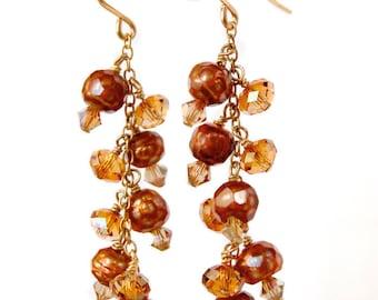 Copper Pearl Earrings, Chandelier Pearl Earrings, Droplets of Fire - Freshwater Pearl Earrings, Pearl Jewelry, Pearl Chandelier Earrings