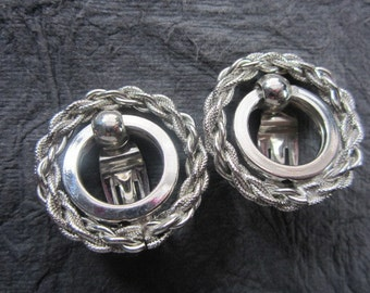 Silver tone High Polish & Textured Rope Clip Earrings . E329