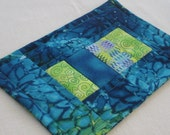 Coffee Quilt Turquoise and Lime Quilted Patchwork Coffee Coaster or Mug Rug