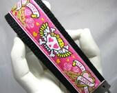 Wristlet Keychain Key Fob Tattoo Love in Pink