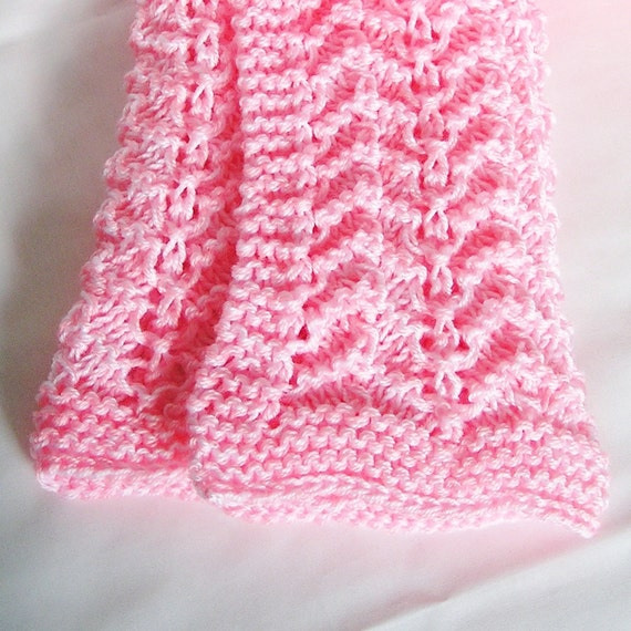 Pink Baby Blanket Afghan, Newborn or Lap Cover, Hand Knitted Chevron