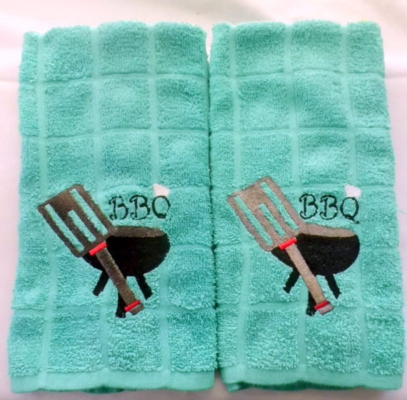 On Reserve  hwauls Pair of Teal Blue Green BBQ Towel For that Favorite Person That Loves To Cookout
