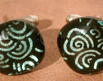 Fused Glass Cuff Links No. 704