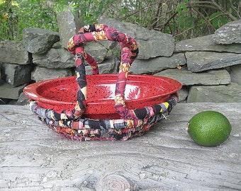 BRICK OVEN textile art BASKET carrier and casserole dish