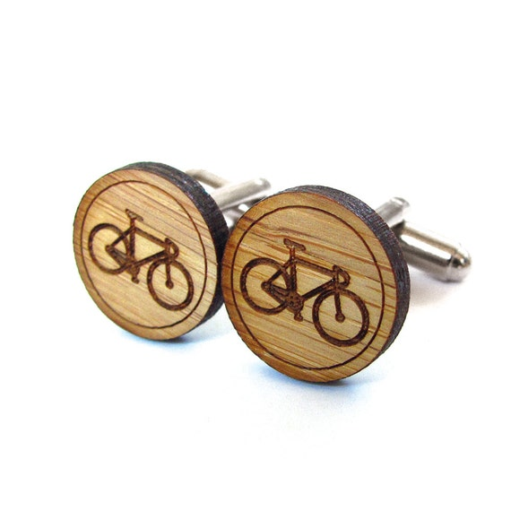 Bicycle Cufflinks - Bamboo - Wood Cufflinks - Gifts Under 25 - Wedding - Groom - Groomsmen - Rustic Wedding - Modern Wedding