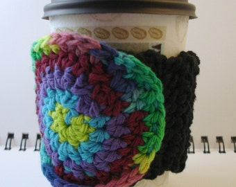 SALE - Black Crocheted Coffee Cozy with Tie Dye Look Circular Pocket (SWG-A05)