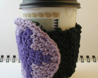 SALE - Black Crocheted Coffee Cozy with Purple Star Circular Pocket (SWG-A04)