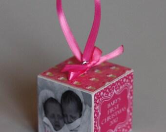 Baby's First Christmas Wooden Block Ornament Pink Snowmen