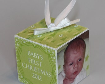 Baby's First Christmas Wooden Block Ornament Green Snowmen