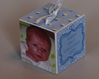 Baby's First Christmas Wooden Block Ornament Blue Snowmen
