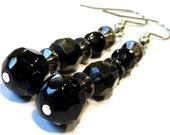 Dangle Beaded Earrings -- Oooh Sparkley -- Black Earrings