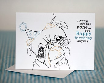 Bulldog and Cake - Birthday Card