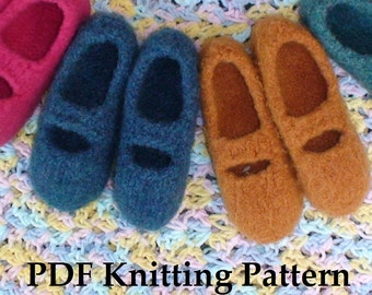 PDF Knitting Pattern - Tiny Tea Time Slippers