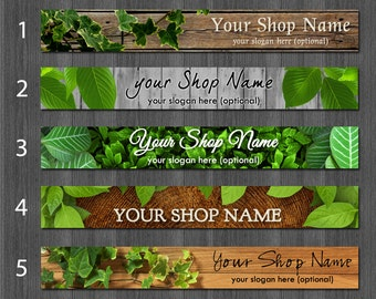 Woodland Etsy Shop Banner, Premade Etsy Banner or Cover Photo, Rustic Wood Design